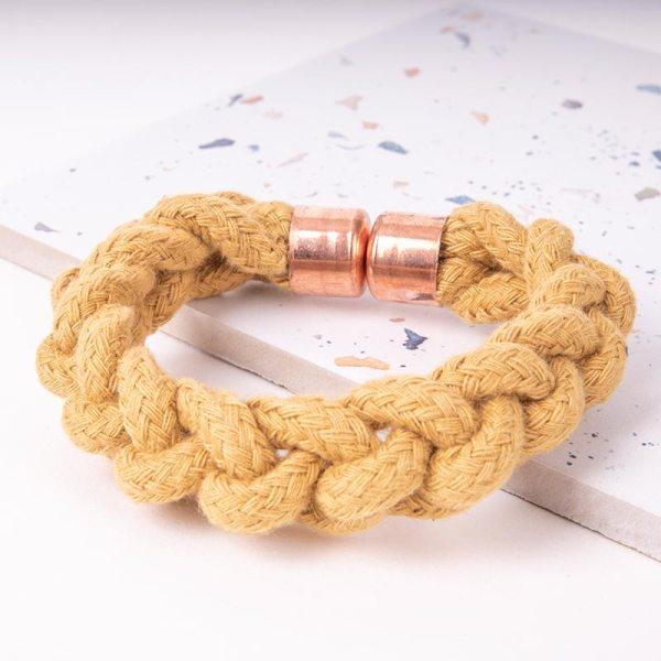 Yellow Woven Bracelet With Copper