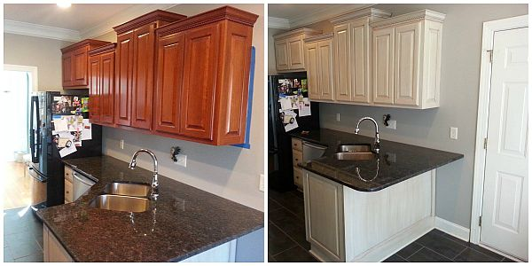 Before After Photos of Salpeck's kitchen cabinet refinishing