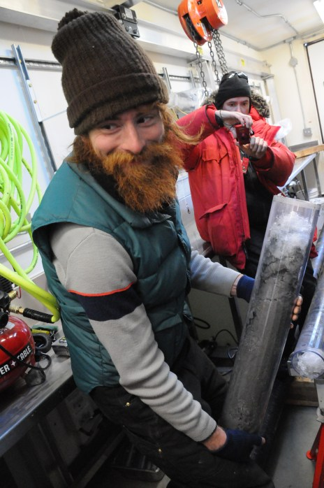 WISSARD grad student Tim Hodson with sediment core