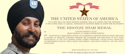 """Major Kalsi Receives Bronze Star Medal"" (photo: sikhcoalition.org)"