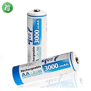 qoop Super Alkaline 2PCS AA Rechargeable Battery 3000mAh - 1.2V