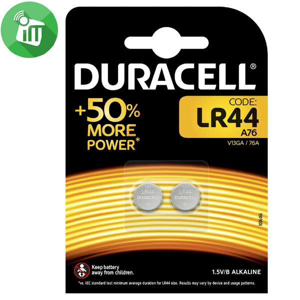 Duracell A76 LR44 Alkaline Battery 1.5V 2PCS