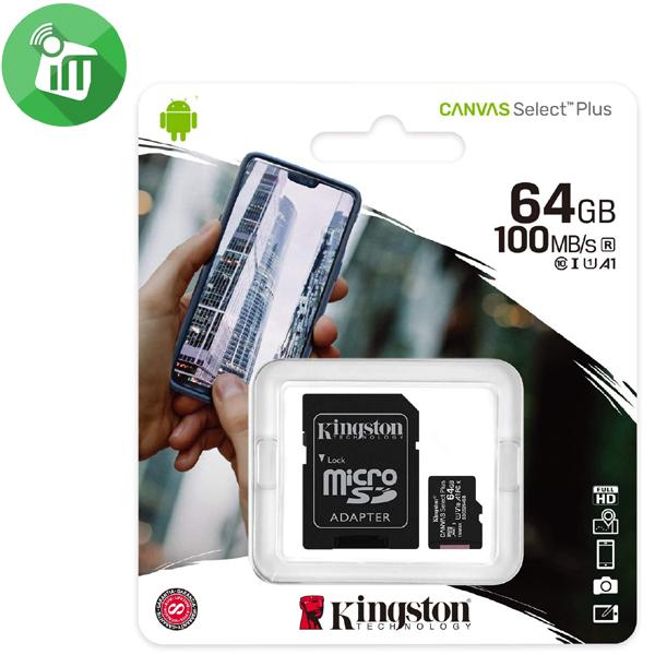 Kingston 64GB Class 10 Canvas Select Plus 100MB/s R SDXC Micro Memory card