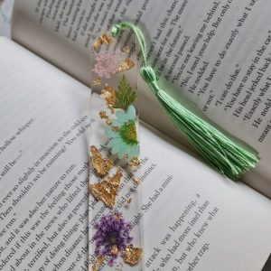Real Flower Bookmarks with Gold Leaf Flakes