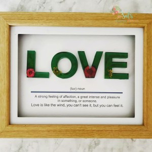 Small Love resin letters framed with quote