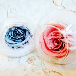 Real Rose Glass Bauble
