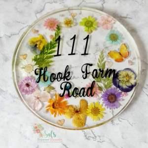 Round Real flower door number plate plaque