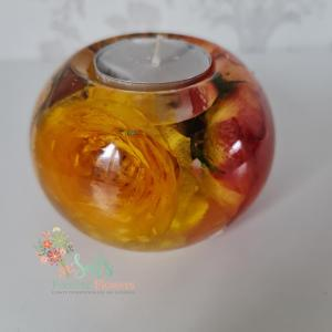 Round Flower Preservation Tealight Holder