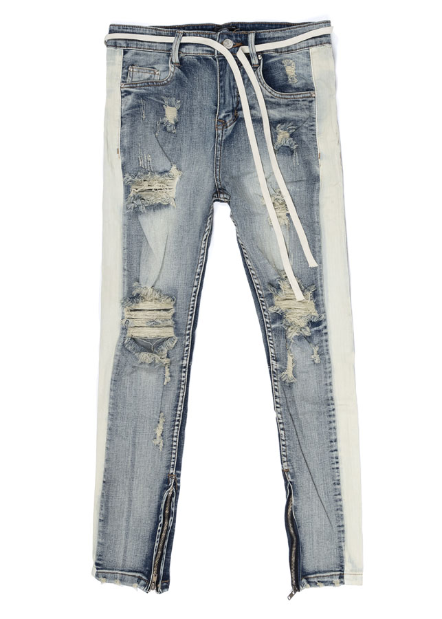 Quần nam STRIPES SKINNY JEANS IN WASH DARK BLUE WITH ZIPS