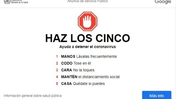 Google se suma a la campaña de prevención de coronavirus.