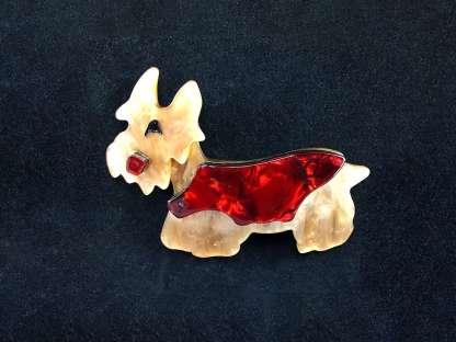 vintage Lucite dog brooch