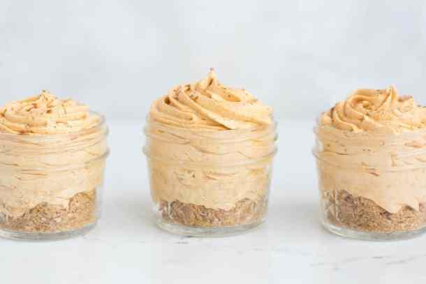 Mini Pumpkin Spice No-Bake Cheesecakes | Salt & Baker