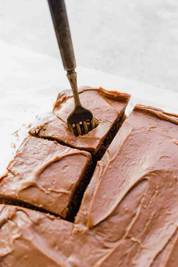 Fork in a slice of chocolate sheet cake.