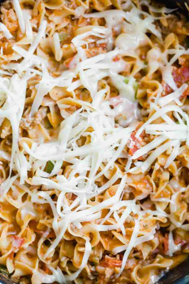 Sausage and Pepperoni Pizza Noodles with shredded mozzarella.