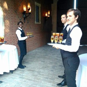 Very friendly and welcoming waiters and waitresses for a private party in London