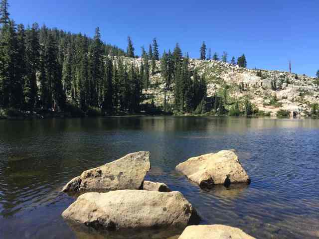 one of the lakes on the five lakes trail in lake tahoe