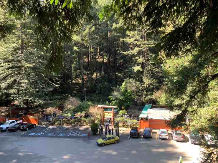 parking lot and entrance to the mystery spot in santa cruz CA
