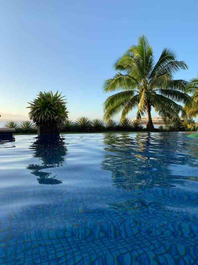 infinity pool surrounded by palms and tropical plants at the Aroha Resort in Taveuni Fiji