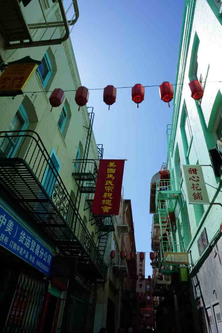 A narrow alleyway in Chinatown in San Francisco, CA.