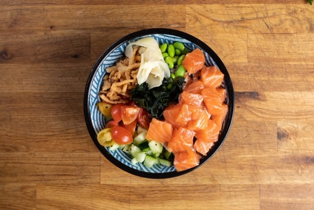 A colorful poke bowl from walking fish in san francisco CA. Walking Fish is a healthy option for an affordable meal on a long layover in san francisco