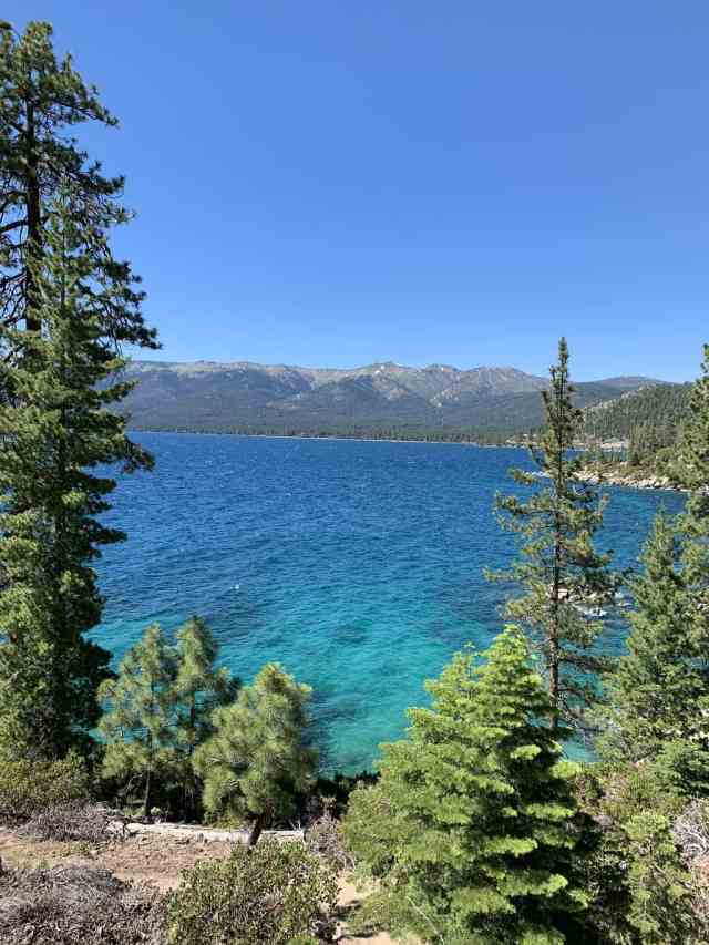 Looking down at Lake Tahoe from the Incline Village bike trail