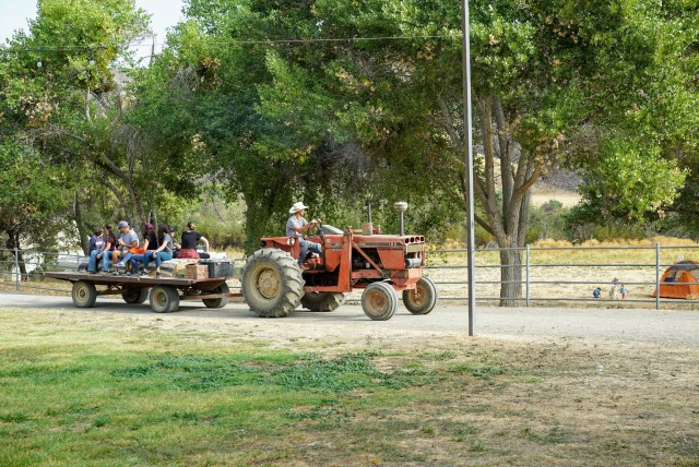 tractor ride at Bar SZ Ranch