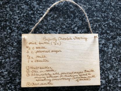 Custom laser engraved recipe card