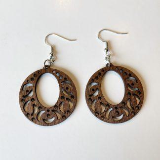 moon and stars wood earrings