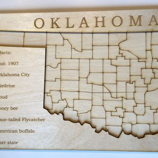Oklahoma wood map learning puzzle