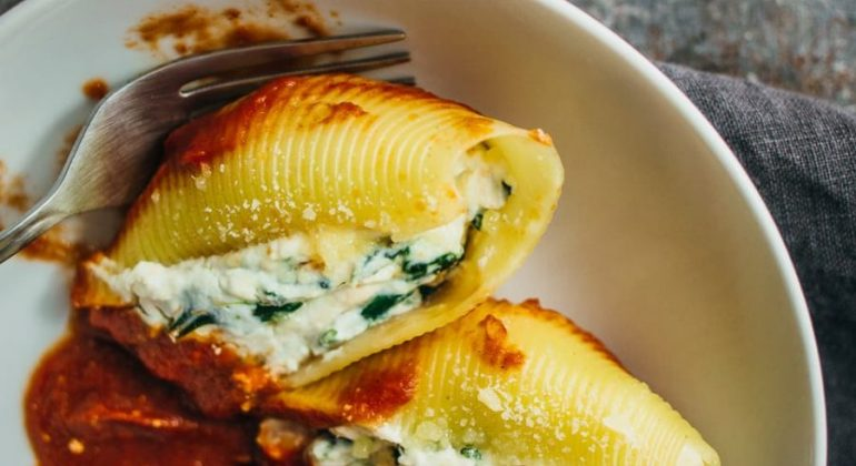 Easy Ricotta Cheese Stuffed Shells With Spinach Salt And