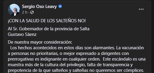 """""""El Frente de Todos conmina al gobernador por el estado sanitario de la provincia"""" La dirigencia opositora criticó fuerte a la elite vacunada"""