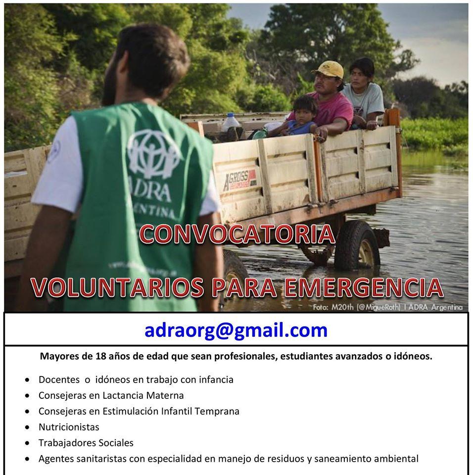 ADRA Argentina busca voluntarios para situación de Emergencias