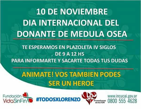 10 de Noviembre: Día mundial del donante de Medula Ósea