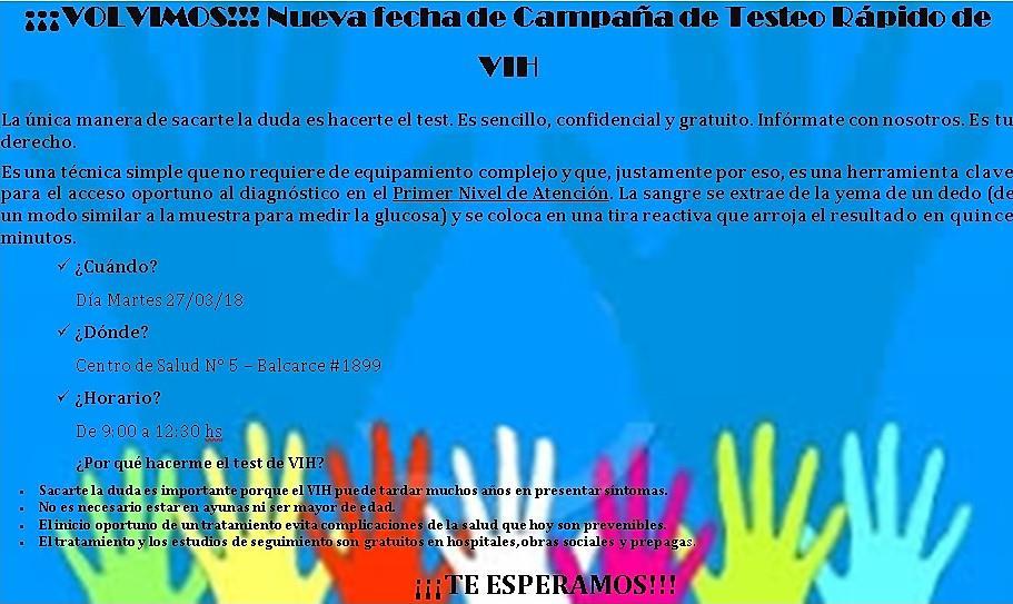 En el centro de salud del barrio El Pilar realizan test rápido de VIH