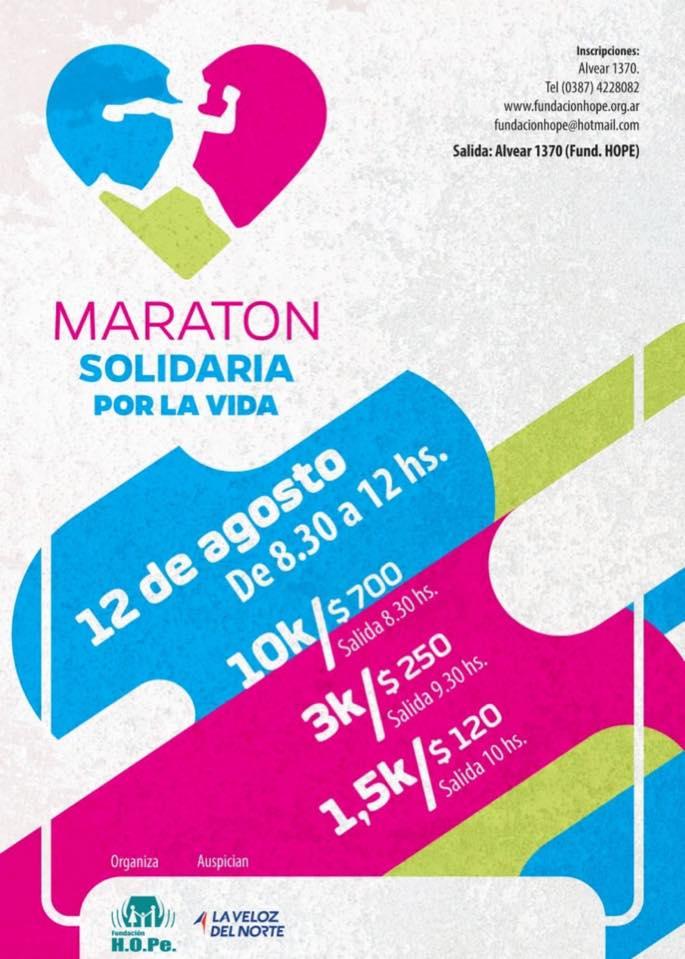 El 12 de agosto se realiza la 6º edición de la Maratón Solidaria de Fundación HOPe