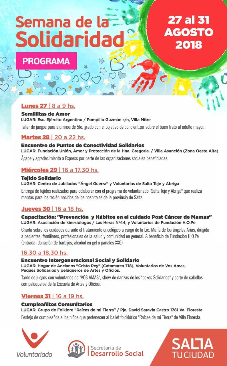Se realiza la 3º edición de la Semana de la Solidaridad en Salta