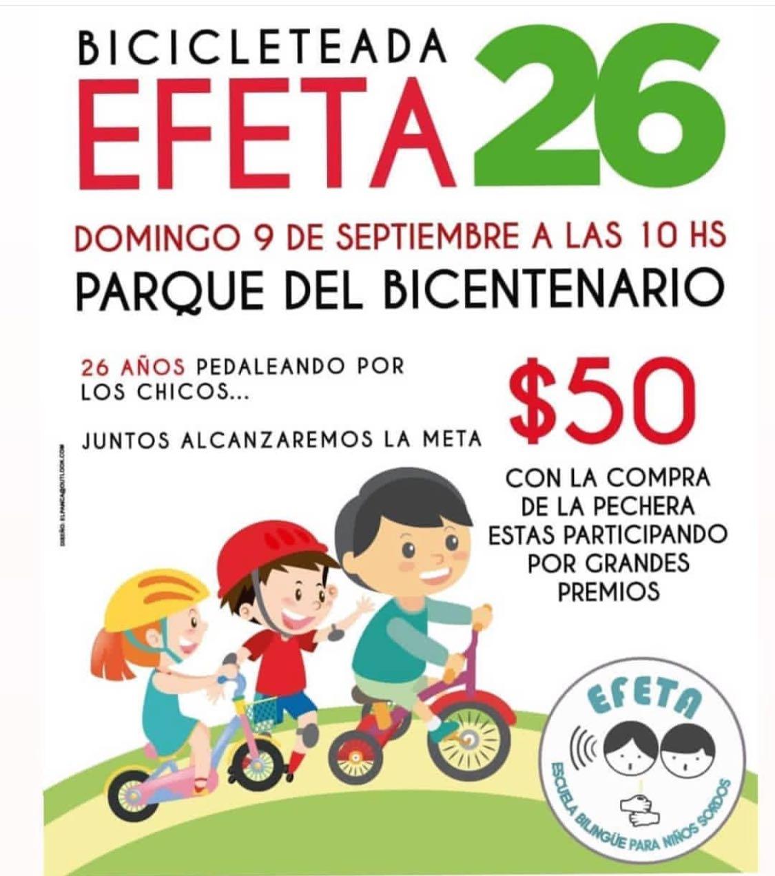 El domingo se corre la 26° Bicicleteada EFETA