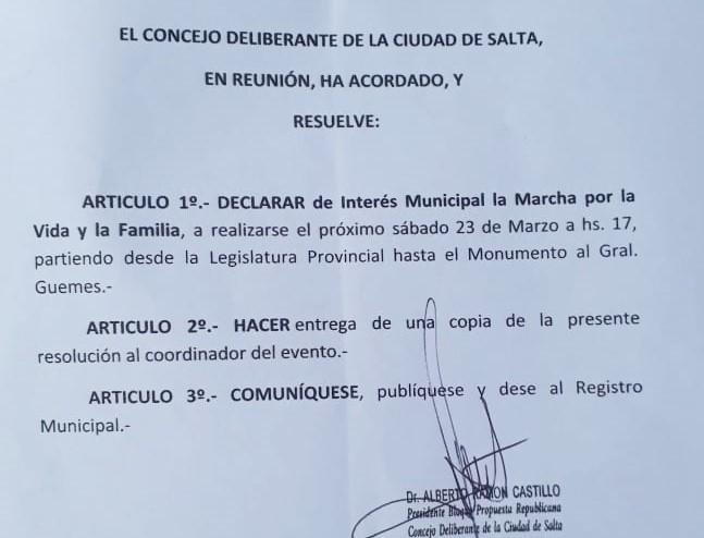El Concejo Deliberante de Salta declaró de interés municipal la Marcha por la Vida