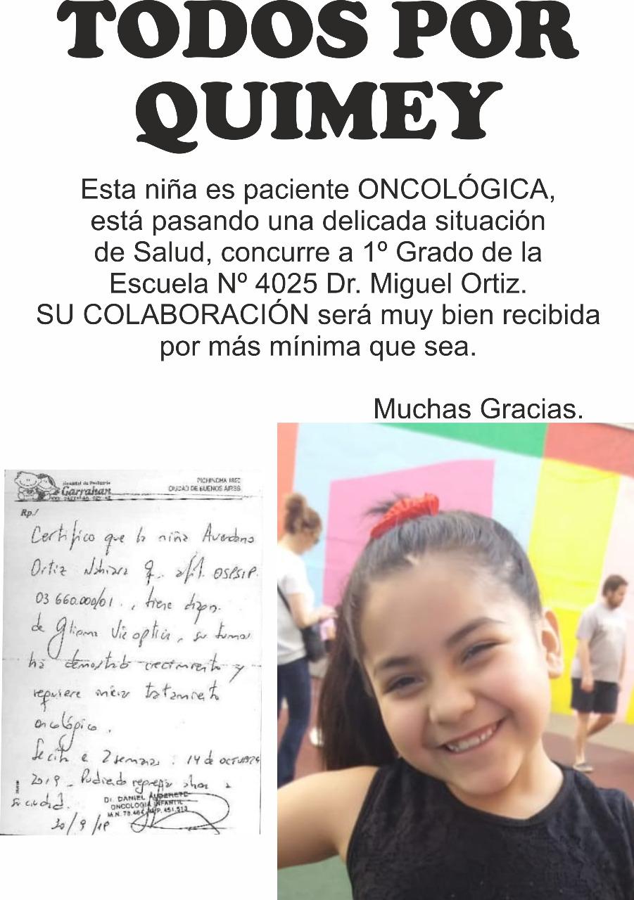 Una madre pide ayuda a la comunidad para cumplir con el tratamiento oncológico de su hija Quimey