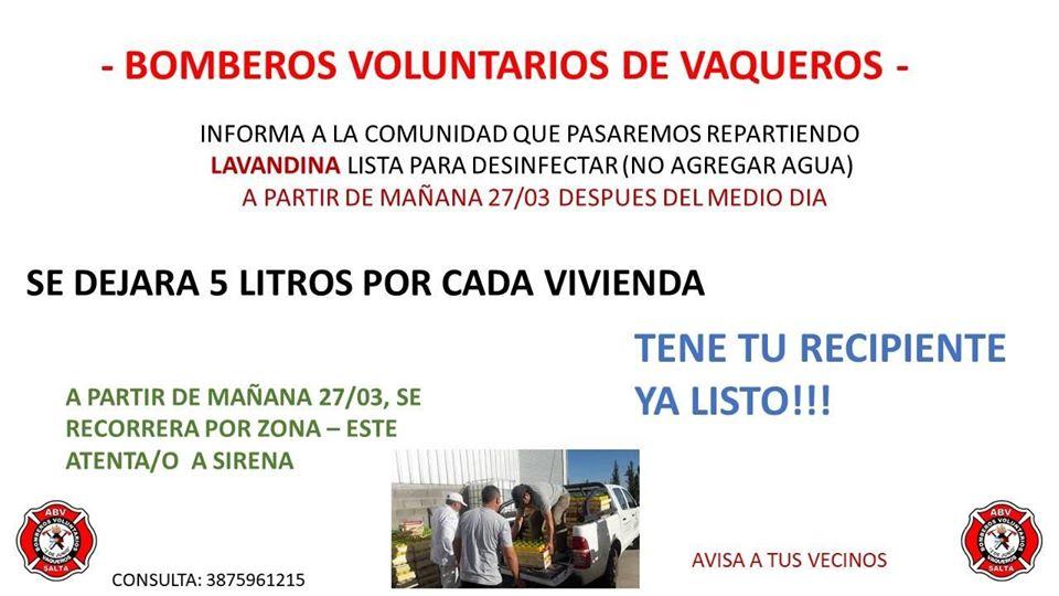 Bomberos Voluntarios de Vaqueros repartirán lavandina