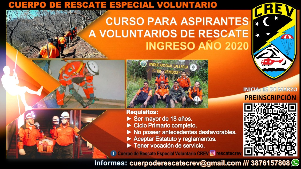 Convocan al curso de Aspirantes a Voluntarios de Rescate
