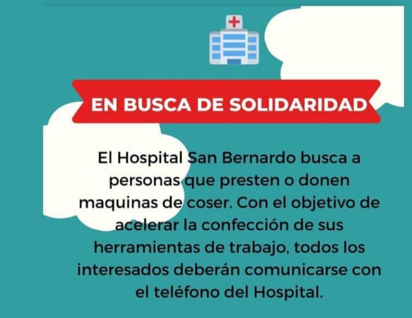 El Hospital San Bernardo pide la colaboración de máquinas de coser para confeccionar barbijos