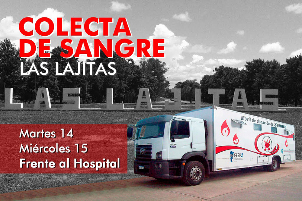 Hoy habrá colecta de sangre en Las Lajitas
