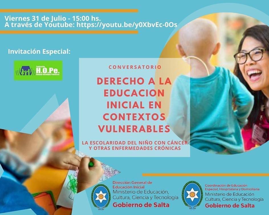 """Fundación HOPe invita al conversatorio """"Derecho a la Educación inicial en contextos vulnerables"""""""