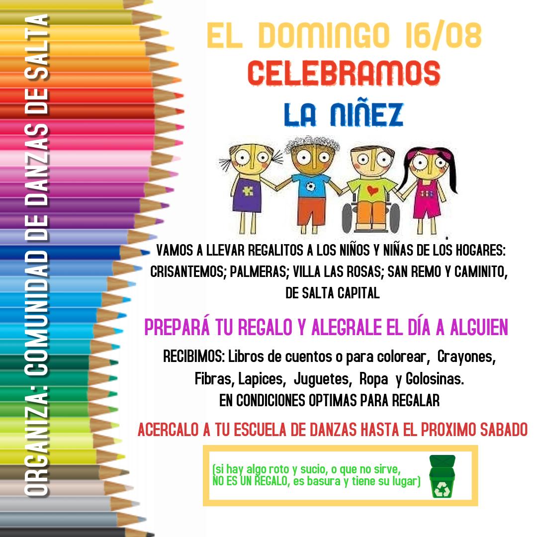 """La Comunidad de Danzas de Salta colecta juguetes y libros para celebrar el """"Día de la Niñez"""""""