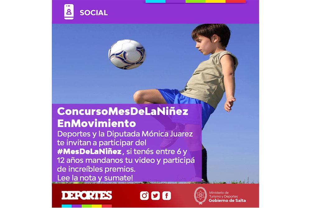 Deportes lanzó el concurso virtual Mes de la Niñez en Movimiento