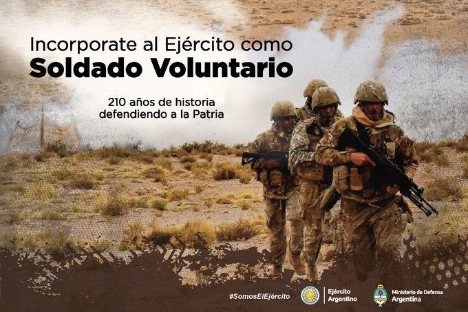 Se encuentran abiertas las inscripciones para ser Soldado Voluntario del Ejercito Argentino