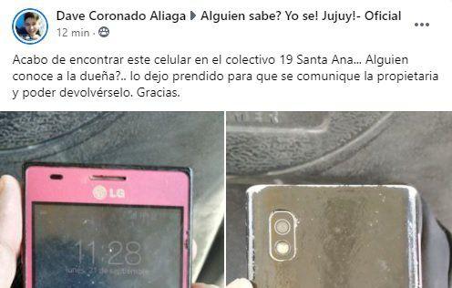 Jujuy: Encontró un celular y busca al dueño para devolverlo