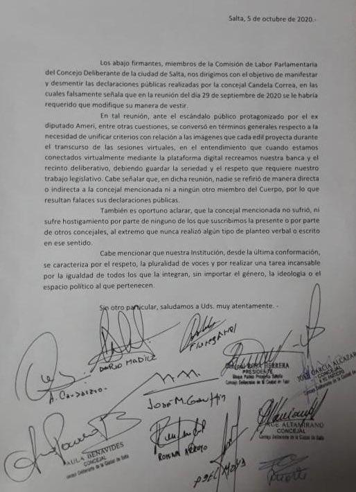 Comunicado Oficial en relación a declaraciones públicas de la concejal Cándela Correa