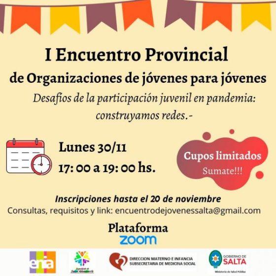 El lunes 30 se desarrollará el 1º Encuentro Provincial de participación juvenil en pandemia